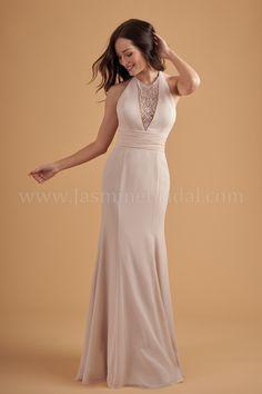 4bfa41041f L204052 Halter Jewel Neckline Poly Chiffon Long Bridesmaid Dress