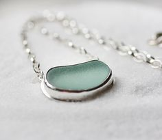 Genuine Sea Glass Necklace/ Aqua Sea Glass/ by modesteparisienne, $125.00