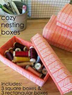 Sew Multi-size Nesting Storage Boxes with Lids - Rectangular and Square