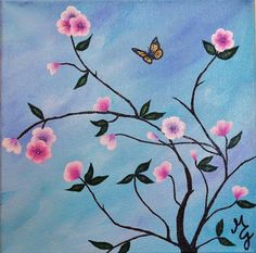 Spring Blossoms Branches Butterfly Blue Sky Original