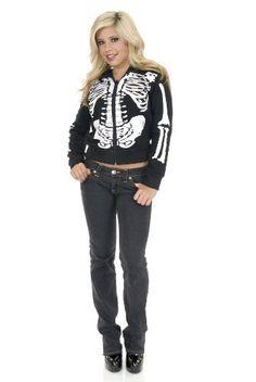 Charades Womens Skeleton Hoodie PinkBlack XLarge * Click image for more details-affiliate link.