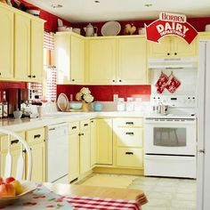 Yellow and red kitchen