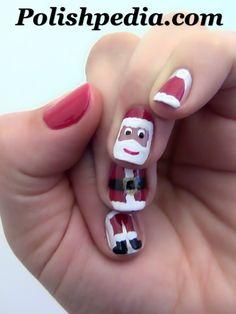 Maak de kerstman op je nagels