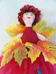 Fall Fairy Doll With Autumn Leaves Red Tutu by JoellesDolls