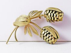 Vintage Gold Tone Floral Pine Cone Brooch by delightfullyvintage