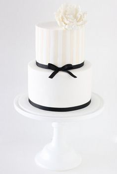 Classic Ivory and White Stripe 2 Tier Cake