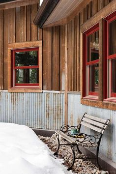 """For the cabana cottage! Reclaimed corrugated metal makes """"totally bomb proof"""" exterior wainscoting that helps protect the lower part of the house from roof runoff. Rustic Exterior, Exterior Siding, Cafe Exterior, Restaurant Exterior, Cottage Exterior, Exterior Remodel, Vintage Design, Rustic Design, Style At Home"""