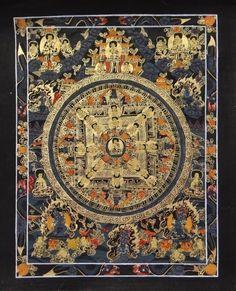 BUDDHA KALACHAKRA TIBETAN MANDALA THANGKA 24 KARAT GOLD WALL CANVAS PAINTING