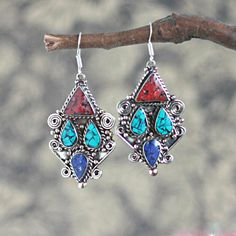 oriental jewlery, tribal earrings, ethnic earrings, boho jewellery, coral earrings, gypsy fashion, handmade hippy jewelry, rustic earrings