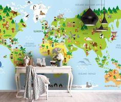 (1) 3D Green World Map Wall Mural Wallpaper 72 – Jessartdecoration Playroom Wallpaper, Kids Wallpaper, Peel And Stick Wallpaper, Wall Wallpaper, Feather Wallpaper, Kids World Map, World Map Wallpaper, Traditional Wallpaper, Removable Wall