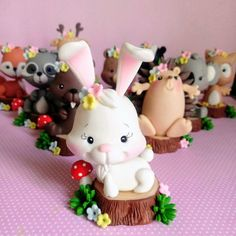 Cake Topper Tutorial, Cake Toppers, Dessert Decoration, Pasta Flexible, Fondant, Sculpting, Woodland, Polymer Clay, Bunny