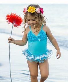 Look at this #zulilyfind! Blue & White Lace Skirted One-Piece - Toddler & Girls by Mia Belle Baby #zulilyfinds