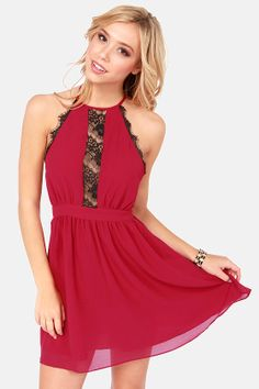 Fireball Wine #Red Halter Dress #lace Get 7% Cash Back http://www.studentrate.com/itp/get-itp-student-deals/lulu-s-Student-Discount--/0