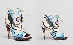 Burberry Prorsum Open Toe Platform Lace Up Booties - Jenkin Painted High Heel