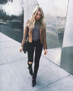 stripes + brown leather jacket