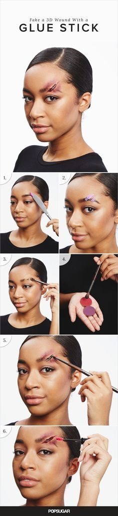 This 3D wound technique is the basic how-to you need to create broken noses, cut eyebrows, and busted lips. In addition to what's already in your makeup kit, you'll need a nontoxic glue stick ($1 for two). Cut off a small segment of the adhesive with a butter knife and apply to the area where you want the laceration.
