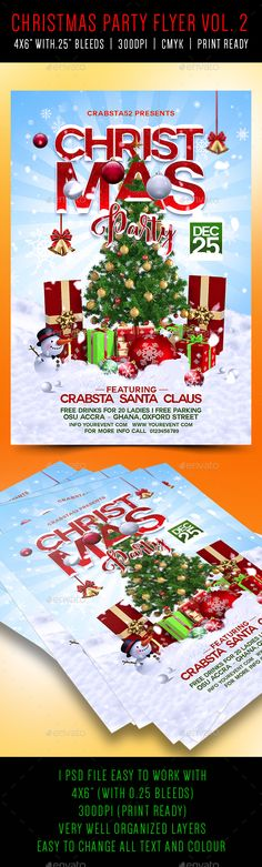 """Christmas Party Flyer Vol 2 is very modern psd flyer that will give the perfect promotion for your upcoming event or club parties! 1 PSD file4x6"""" size with 0.25"""" bleeds Simple and easy to work with, CMYK, 300dpi and Ready to print. Very well organised and layers named appropriately. Easy photo, colour and text replacement. Fonts used: https://www.d"""