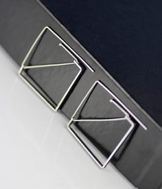 modern geo threader earrings square unique handmade by lolide
