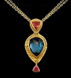 The Cleopatra Necklace - 14ct London Blue Topaz and 1.5ct Padparadscha Sapphire Granulation Pendant and Necklace on Etsy, $6,785.00