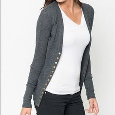 Charcoal Grey Snap Up Cardigan Awesome layering piece! You will love this snap up cardigan! Fits 6-8 Sweaters Cardigans