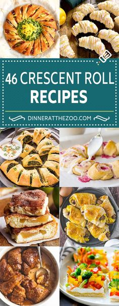 A comprehensive list of crescent roll recipes including ideas for breakfast, appetizers, dinners and desserts! A can of crescent roll dough is a versatile ingredient that can be transformed into so many different culinary delights. Crescent Dough Sheet Recipes, Pilsbury Crescent Recipes, Recipes Using Crescent Rolls, Crescent Roll Appetizers, Crescent Roll Pizza Ring, Pizza Crescent Roll Recipes, Crescent Roll Ring Recipes, Crescent Ring, Crescent Roll Dough