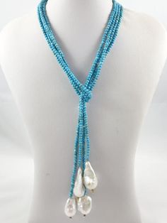 Turquoise and Baroque Pearl Lariat Necklace – Loulia Pearl Jewelry Dainty Diamond Necklace, Diamond Cross Necklaces, Baroque Pearl Necklace, Baroque Pearls, Beaded Jewelry, Fine Jewelry, Pearl Jewelry, Lariat Necklace, Turquoise Jewelry