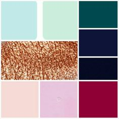 Colour palette.  Copper maroon ink navy teal mint blush peach duck egg love live. Blondie dreaming