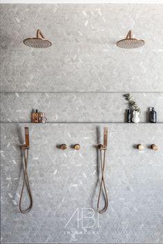 Bathroom Renos, Bathroom Renovations, Bathroom Ideas, Bathroom Design Inspiration, Bathroom Interior Design, Shower Recess, Simple Bathroom Designs, Copper Accessories, Powder Room Design