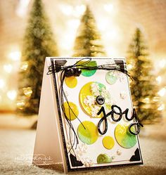 joy yellow green - handmade Christmas card.