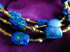 Rebeccas gold and lapis lazuli choker