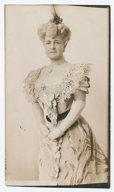 Official portrait of Mrs. Bertha Honoré Palmer for The Paris Exposition, wearing the official gown created by Worth of Paris, 1900.