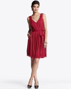 Red pleat dress