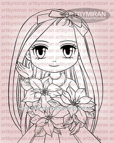 Digital Stamp Poinsettia Priscilla 329 Digi Stamp by artbymiran