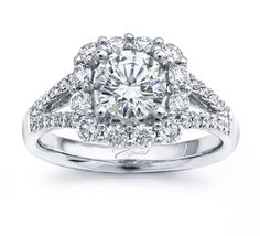 Crowned Halo Engagement Ring @CoastDiamond
