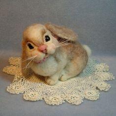 Custom Bunny Rabbit doll soft sculpture needle felted art. $135.00, via Etsy.
