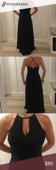 Night scene Black beaded dress Night Scene Black lightly beaded dress perfect for a special occasion.  Model size 32C typically wears 00. Dress size labeled Small. Has pad inserts Dresses