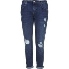 TOPSHOP PETITE MOTO Slim Lucas Boyfriend Jeans (115 CAD) ❤ liked on Polyvore featuring jeans, pants, bottoms, trousers, mid stone, petite, boyfriend fit jeans, topshop jeans, petite blue jeans and blue jeans
