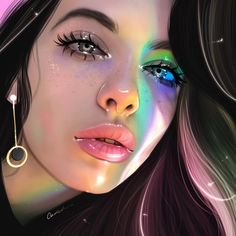Ruby Caurlette is a 17 years old self-taught digital artist, from Syria. She makes impressive digital portrait drawings. Digital Art Girl, Digital Portrait, Portrait Art, Cartoon Kunst, Cartoon Art, Pretty Drawings, Cool Drawings, Dibujos Tumblr A Color, Realistic Drawings