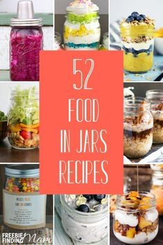 Calling all Mason jar lovers! Here you'll find 52 Food in Jars Recipes for Mason jar salads, soups, breakfasts, desserts and more! Be inspired by these Mason jar ideas to make quick, easy and convenient Mason jar meals in minutes. Mason Jar Breakfast, Mason Jar Lunch, Mason Jar Desserts, Mason Jar Meals, Meals In A Jar, Mason Jars, Canning Jars, Dessert In A Jar, Good Food