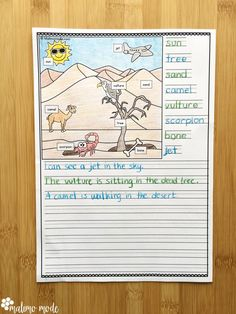 Kindergarten Writing Prompts, 1st Grade Writing, Work On Writing, 2nd Grade Reading, Writing Worksheets, Kids Writing, Writing Practice, Writing Paper, Creative Writing