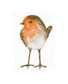 Aceo Original Watercolor Art Bird  Robin  Painted by by lorisworld, $12.00