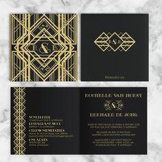 trouwkaart-great-gatsby-2-art-deco-volledig Gatsby, Roaring Twenties, Our Wedding, Wedding Invitations, Monogram, Personalized Items, De Stijl, Wedding Invitation Cards, Monograms