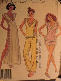 Nightgown Pajamas Lingerie Comfortable Nightwear Vintage Pajama Top, Pajama Shorts, Cool Patterns, Vintage Sewing Patterns, Lingerie Patterns, Costume Patterns, Nightgown, Pattern Fashion, Nightwear