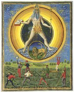 """Ιllustration from the 15th Century Italian Manuscript """"De Sphaera"""" Biblioteca Estense, Modena. Depiction of Sol - the Sun - with  Lion,  it's ruler"""