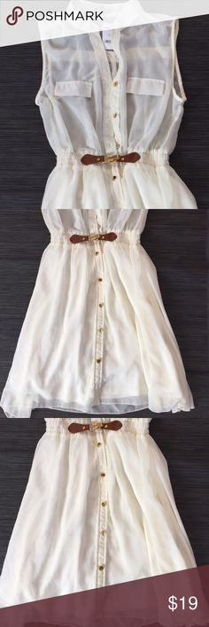 New with tags beautiful DRESS WITH FLOWY BOTTOM New with tags beautiful CHARLOTTE RUSSE dress. Dress is cream with a sheer top and flowy lined bottom. button down . Gold tone hardware w/ brown belt like closure. Dress is gathered at the waist. Size S Charlotte Russe Dresses