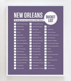 New Orleans Bucket List Wand Kunstdruck von OwlYouNeedIsLoveShop