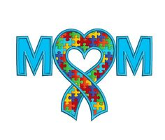 Mom Autism Awareness Ribbon Heart Applique by EmbroideryMonkey