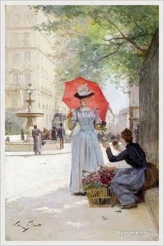 Victor-Gabriel Gilbert (French, 1847-1933) «Jeune femme а l'ombrelle achetant des fleurs»
