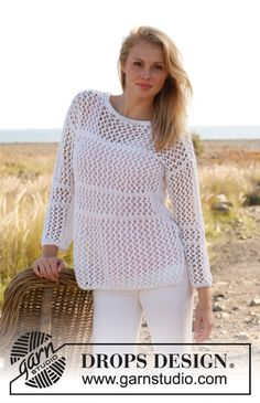 Knitted DROPS jumper with lace pattern in Bomull Lin or Paris. Size: S - XXXL. ~ DROPS Design - free pattern