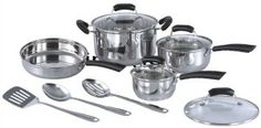 11pc Stainless Steel Cookware Set Stainless Steel Polished